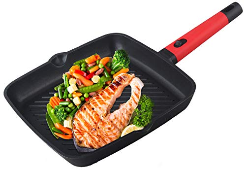 ANSIO Griddle Pan Non Stick Induction Base with Detachable Handle, Compatible with Gas & Electric Hobs 28 cm / 11-inch Square Pan Cast Aluminium