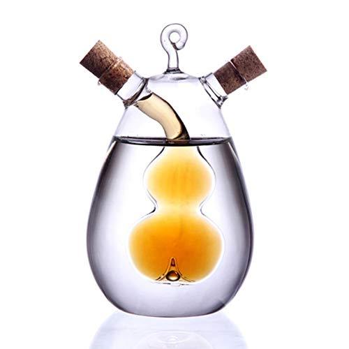 SUFUBAI Paquete de 2 dispensadores de botellas de vinagre de aceite de 350 ml en uno, botella de aceite de oliva de vidrio y botellas de vinagre con tapones de corcho para suministros de cocina