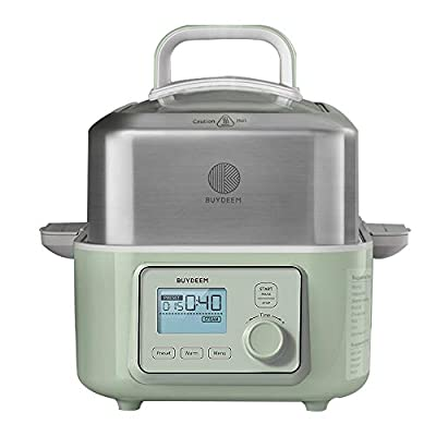 Buydeem All-in-One Intelligent Food Steamer (2.1Qt) with lid and 2 Stew Pots(2 * 1.5Qt) Electric Stew Pot G563,1500W, Mint Green