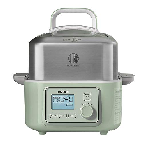 BUYDEEM G563 5-Quart Electric Food Steamer for Cooking, One Touch Vegetable Steamer, Digital Multifunctional Steamer, Quick Steam in 60s, Stainless...