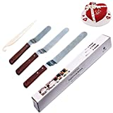 Offset Spatula, Icing Spatula Set Angled Cake Decorating with 6' 8' 10' Blade, Stainless Steel Frosting Spatula Knife Professional Cake Stripping Tool with Wooden Handle