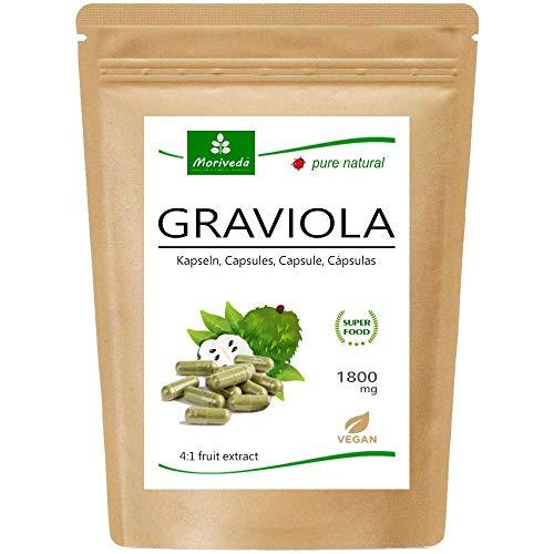 MoriVeda® Graviola Kapseln aus Fruchtextrakt 4:1 | 2 Monatspackung | 1800mg pro Kapsel I Graviola Kapseln, reich an Vitaminen & Antioxidantien I Graviola in erstklassiger Qualität I 120 St.