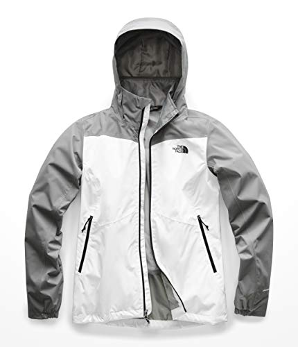 The North Face Women's Resolve Plus DWR Rain Jacket, TNF White/Mid Grey Dobby, XL