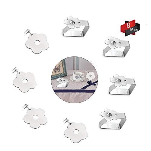 Anyingkai 8Pcs Tischdeckenbeschwerer Outdoor, Tischdeckenbeschwerer Edelstahl, Tischdeckenbeschwerer Set, Tischtuchhalter für Drinnen Draußen, Tischdeckenbeschwerer mit Klammer (A-Blumen)