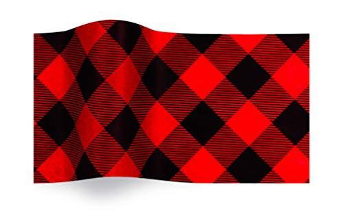 Buffalo Plaid Rood Zwart Checks Gedrukt Gedessineerd Weefsel Inpakpapier Luxe 5 Vellen
