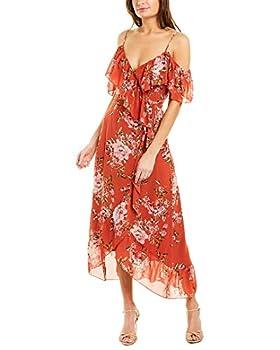 WAYF Nanette Ruffle Wrap Midi Dress Red Floral SM
