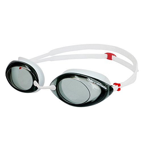 Dr.B Racer - Optische Schwimmbrille mit Sehstärke 100{b51d11511fca48eb77e909d5254faa530707c71b678f865cb524c940ac038fce} UV-Schutz #32295 (Weiß, -1.5)