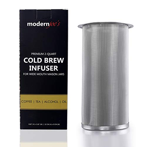 Premium Infuser Cold Coffee Maker for 1 QT Wide Mouth Mason Jars by Modern Joe's. Perfect for Ice Coffee and Tea. Heavy Duty 50 Micron EXTRA Fine Mesh 304 Stainless Steel