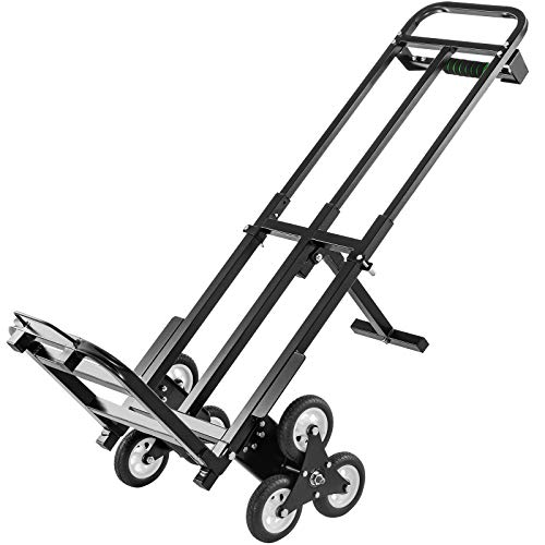 VEVOR Stair Climbing Cart 460lbs Capacity, Portable Folding Trolley with 6 Wheels, Stair Climber Hand Truck with Adjustable Handle for Pulling, All Terrain Heavy Duty Dolly Cart for Stairs