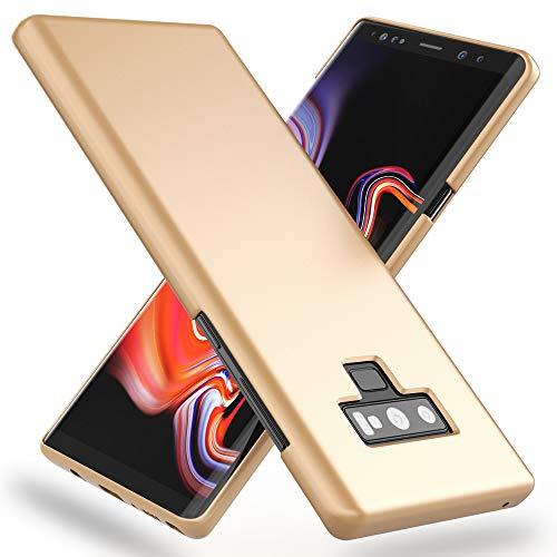 NALIA Funda Compatible con Samsung Galaxy Note 9, Ultra-Fina Movil Protectora Carcasa Dura Bumper en Look de Metal, Premium Delgado Smart-Phone Hard-Case Telefono Cubierta Slim Cover, Color:Go