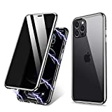 ZHIKE Compatible with iPhone 12 Pro Max Case Anti-Peep Magnetic Adsorption Case Front and Back Tempered Glass Full Screen Coverage One-Piece Design Flip Privacy Cover (Anti Spy Clear Silver)