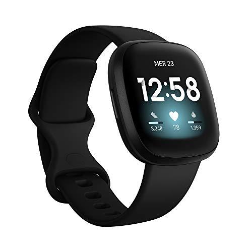 Fitbit Versa 3 Smartwatch per Benessere e Forma Fisica con GPS Integrato, Rilevazione Continua del Battito Cardiaco, Assistente Vocale e Durata della Batteria oltre 6 Giorni, Nero