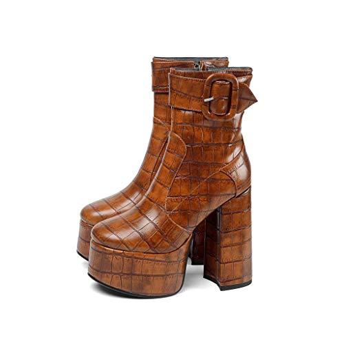 MSSugar Damenmode Stiefel Round Toe Buckle Herbst & Winter Stiefel Blockabsatz Closed Toe Booties/Stiefeletten/Minimalismus Wanderschuhe,A,36