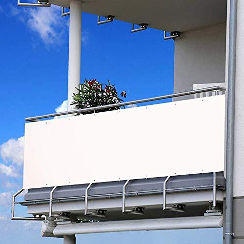 105x400cm Schermo Privacy Frangivista Balcone Frangivento Anti-UV Telo Oscurante Impermeabile Densità 200g/㎡ Giardino terrazza Recinzione Copertura con Fascette e funi/Bianca