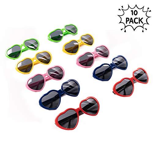 10pcs Corazón Gafas De Fiesta, Neón Gafas De Sol Para Adultos Y Niños, Relleno Perfecto Para Fiestas Regalos, Novedad Juguete, Props Carnaval Disfraz Cumpleaños Accesorios Decoraciones