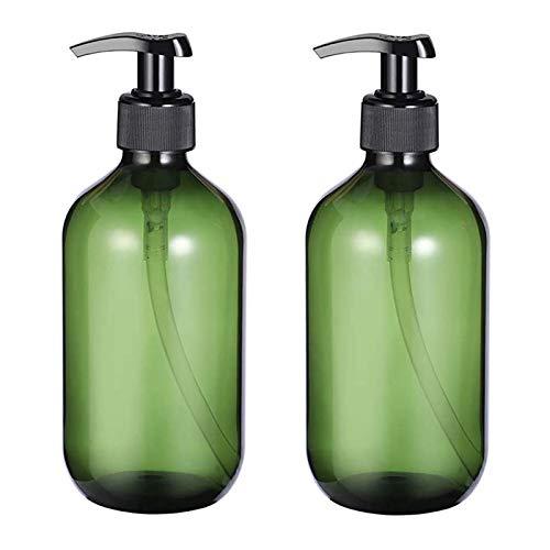 2PCS 500ML Lozione Vuota Pompa Sapone Bottiglia, Riutilizzabili, Dispenser Mano Lozione Sapone Bottiglie, per Lgienizzante Mani, Creme e Prodotti Cura della Pelle (Verde)