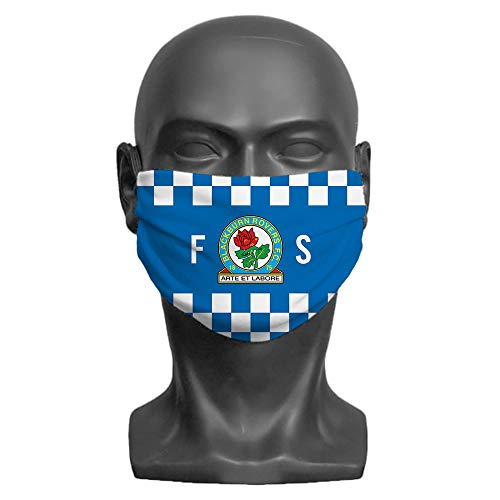 PERSONALISED Blackburn Rovers FC Initials Adult Washable Face Mask (Large) | Double Layer | Comfortable Elasticated Ear Loops - Official Merchandise