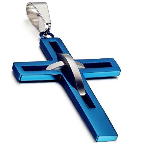 Flongo Herren-Kette Männer Anhänger, Edelstahl Anhänger Halskette Silber Blau Kreuz Hohle Openwork Jahrgang Poliert Herren,mit 54cm Kette