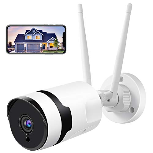 Security Camera Outdoor, HJSHI 1080p Wireless WiFi Surveillance Camera with Dual WiFi Antenna, 2-Way Audio, Night Vision, Motion Detection, Remote Access, Compatible with iOS/Android, Use Wired Power