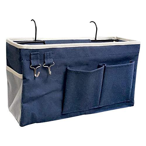 Fittoway Sac de rangement pour lit mezzanine - Sac de rangement pour livres, magazines, jouets, téléphone portable, casque (bleu marine)