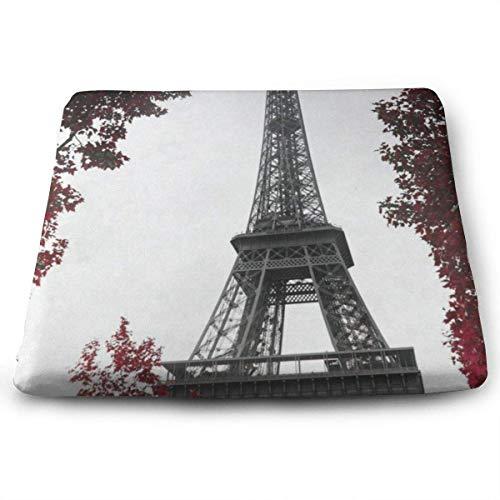 wusond Cojines de Asiento Cuadrados Red Tree y Toalla Eiffel Cojines de Espuma viscoelásticos de Confort Premium