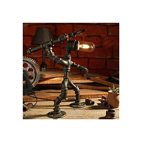 YXX Lámpara de Mesa de Robot de Hierro Creativo Retro Robot Tubo de Agua Lámpara de Mesa Bar Restaurante Cafe Steampunk Decoración, Luz de Noche, Lámpara de Mesa Retro, Bulbos no incluidos
