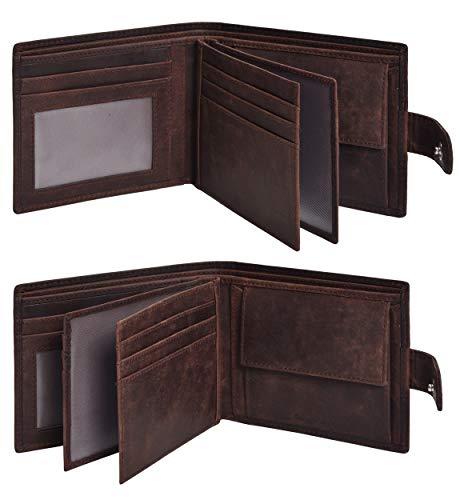 Eono Essentials 7 Cartera de cuero con tarjeta de crédito - Carteras RFID Slim para hombres con 2 ID, bolsillo para monedas