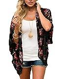 Kimono traje de baño Cover-Up Caridgan Beach suelto parte superior para mujer -  Negro -  XX-Large