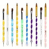 ANGNYA 10pcs Set di pennelli per unghie in acrilico Gel UV, Pennelli per nail art Smalto per unghie Kit per il design delle unghie Nail art, Penna punteggiata Unghie acriliche Strumenti per manicure