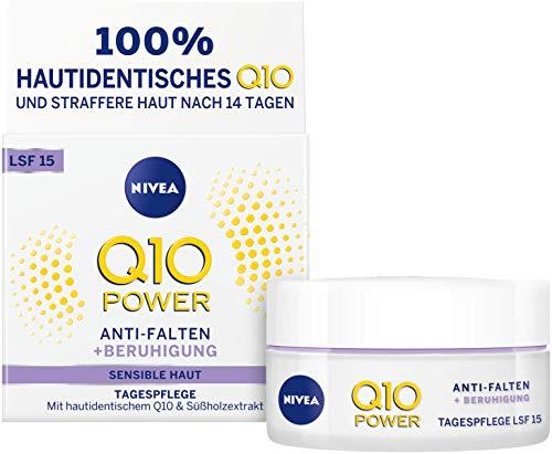 NIVEA Q10 Power Anti-Falten + Reduzierte Sensibilität Tagespflege für glattere & jünger aussehende Haut, Tagescreme mit LSF 15, 2er Pack(2 x 50 ml)