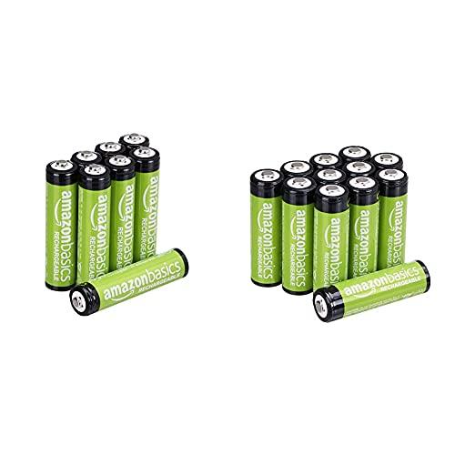 Amazon Basics AAA-Batterien, wiederaufladbar, vorgeladen, 8 Stück (Aussehen kann variieren) & AA-Batterien, wiederaufladbar, 2000 mAh, 12 Stück, vorgeladen
