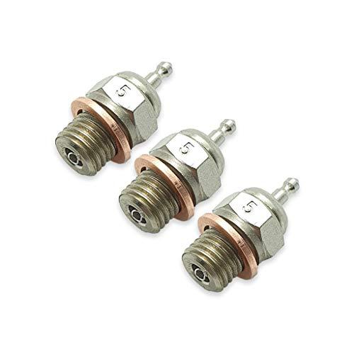 TCA Racing Candela Standard N° 5 - Glow Plug - per Motori A Scoppio - Scala 1/8 - 1/10 - AUTOMODELLI - Confezione da 3 Pezzi