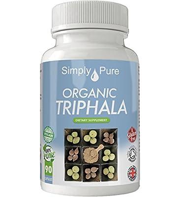 Simply Pure Organic Triphala Capsules x 90, 500mg, 100% Natural Soil Association Certified, Gluten Free, GM Free and Vegan.