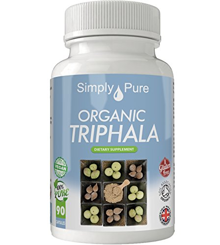 Simply Pure Organic Triphala Capsules x 90, 500mg, 100% Natural Soil Association Certified, Gluten Free, GM Free and Vegan.