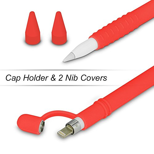 Silicone Case for Apple Pencil Holder Sleeve Skin Pocket Cover Accessories for iPad Pro, Soft Grip Pouch with Charging Cap Holder and 2 Protective Nib Covers(Red)