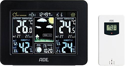 ADE Wetterstation WS 1503 mit Funk und Außensensor. Anzeige von Wetter, Temperatur, Luftdruck und Luftfeuchtigkeit. Mit Funkuhr und Wecker. Thermometer und Hygrometer für Innen und Außen. Schwarz