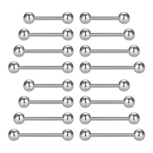 LAURITAMI 16pcs Piercing Lingua Linguetta 14G 12-18mm Capezzoli Barbell Dritto Acciaio Chirurgico Gioielli Donna Uomo