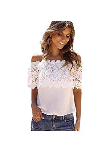 JUTOO Frauen Schulterfrei Casual Tops Bluse Spitze Crochet Chiffon Shirt