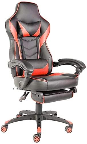 BeingHD Qualitätsbürostuhl, Bürostuhl mit Armlehne Faltbare Nylon Fuß Rennstuhl Ergonomischer Drehstuhl Computerstuhl Spielstuhl Bürozimmer Verwenden Sie Mesh Chair (Color : Red)