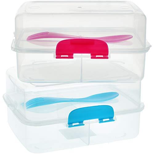 com-four® 2x Brotdose mit Göffel (Spork) für unterwegs - transparente Lunch-Box für Kinder Erwachsene mit Trennwänden - Frühstücksbox 17 x 13 x 9,5 cm (2 Stück - transparent)