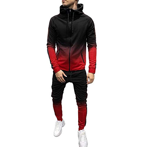 Men Sport Suit Gradient Sweatsuit Zipper Hoodies Outfit Contrast Jogging Full Tracksuit (XL, Red)