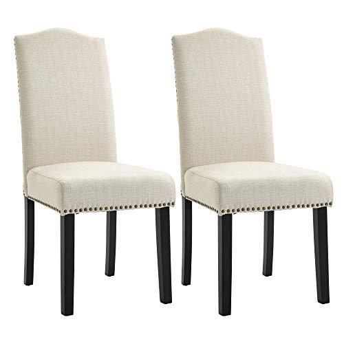 HOMCOM Esszimmerstühle 2er Set Küchenstuhl mit Rückenlehne, Sitzfläche aus Leinen, Schaumstoff, E1 MDF Kautschukholz, Beige, 47x63,5x103,5 cm