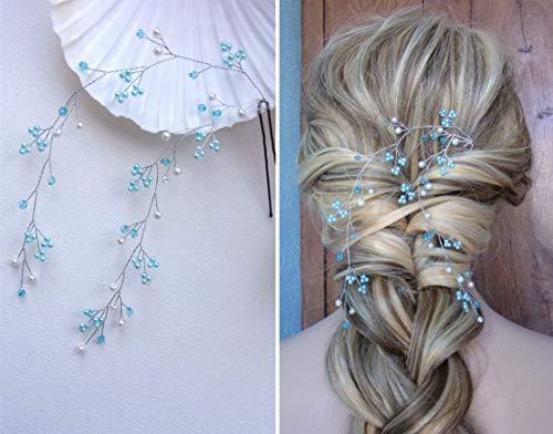 BERYUAN Diadema de pelo largo para mujer, con ópalo azul, perla azul claro, zafiro, accesorio para el pelo, accesorio para el pelo, para novia, dama de honor (plata)