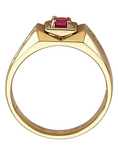 Diemer Gold Herren 585 Gelbgold Ring mit Rubin in Rot
