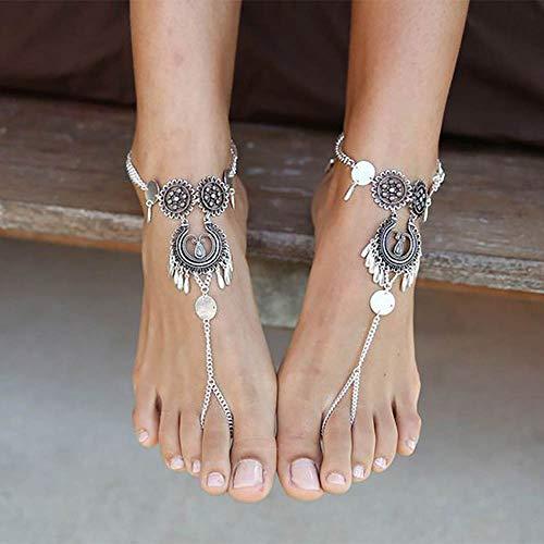 Edary Boho-Fußkettchen, hohl, geschnitzt, Silbermünze, Knöchel-Armband, Strandfuß-Schmuck für Frauen und Mädchen (1 Stück)