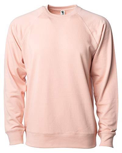 Global Blank Women's French Terry Fleece Lightweight Crewneck Sweatshirt M Pink Rose