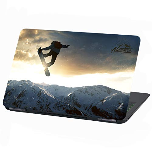 Laptop Folie Cover Adventure Klebefolie Notebook Aufkleber Schutzhülle selbstklebend Vinyl Skin Sticker (17 Zoll, LP22 Snowboarder)