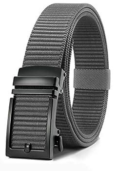 Chaoren Nylon Ratchet Belt Mens Golf Belt Casual Adjustable Trim to Exact Fit  Grey Nylon Ratchet 26  to 36  Waist Adjustable