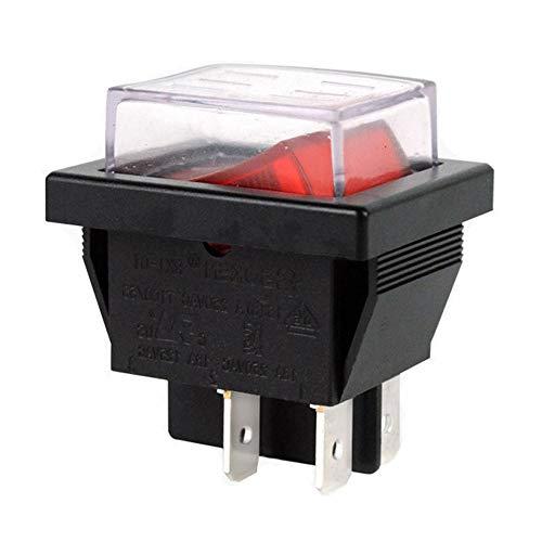 Waterdichte elektrische drukschakelaar, 4Pins 16A 250VAC tuimelschakelaar voor motorfiets vleesmolen-koker-loopbanden en haardroger, 2-pack, RK1-01