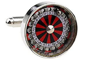 MRCUFF Presentation Gift Box Roulette Wheel Vegas Gambling Pair Cufflinks & Polishing Cloth from MRCUFF